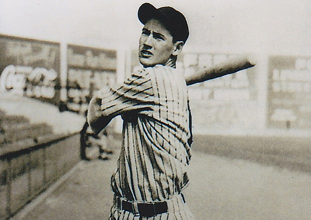 Ted Williams at Lane Field, bat over shoulder. (a former baseball stadium loc...