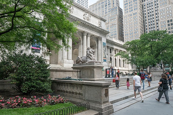 Exterior photo of the New York Public Library.