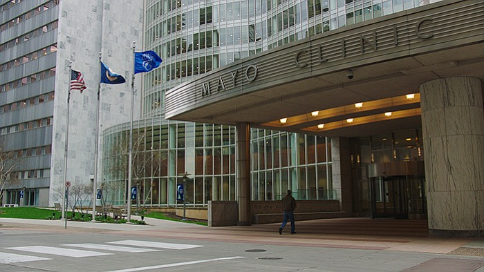 The entrance to the Gonda building at the Mayo Clinic in Rochester, Minn.