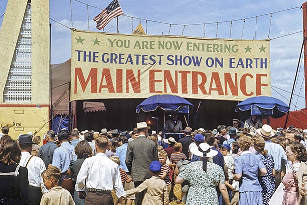 Main entrance to the Ringling Bros. Circus, Madison, Wis., Aug. 17, 1951.