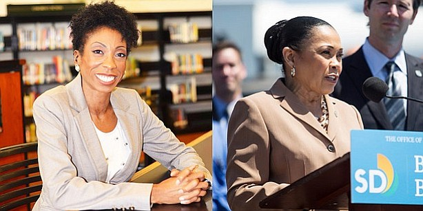 San Diego City Council candidate Monica Montgomery, left, is shown in a court...