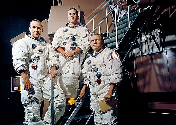 (13 Nov. 1968) Crew of the Apollo 8 lunar orbit mission. Left to right, are J...