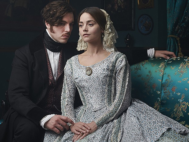 Shown from left to right: Tom Hughes as Prince Albert and Jenna Coleman as Qu...