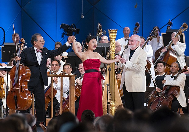 Yo-Yo Ma, Jessica Zhou, and John Williams bow following Williams's