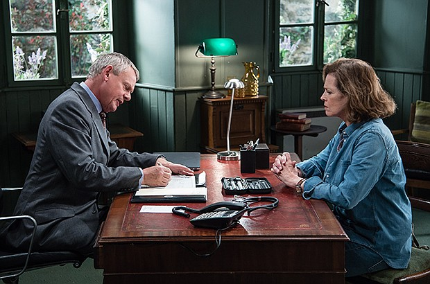 Martin Clunes as Dr. Martin Ellingham with Sigourney Weaver as Beth, in a sce...