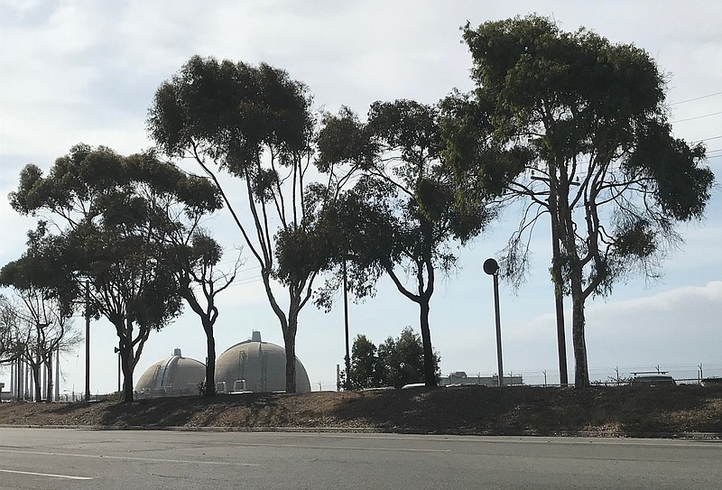 San Onofre Nuclear Generating Station's twin domes can be seen from the front...