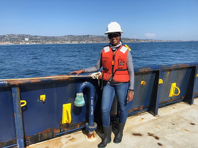 Goldie Phillips is pictured aboard a research vessel on Aug. 2, 2018. She's g...