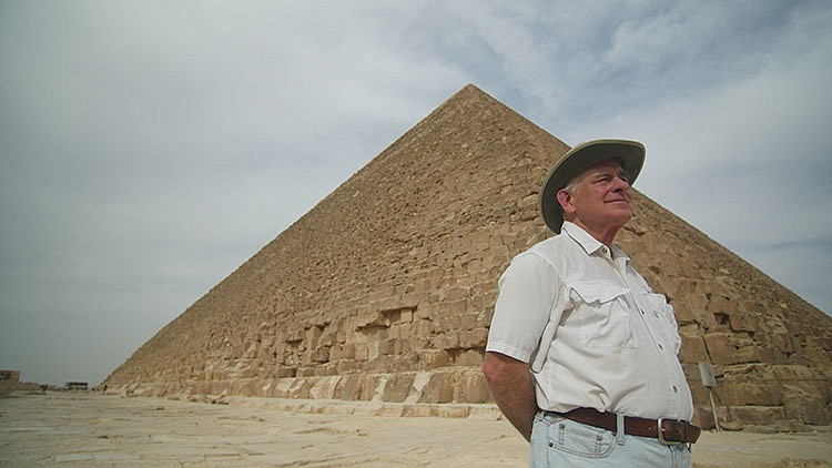 Mark Lehner in front of the Great Pyramid. Stunning new archaeological eviden...