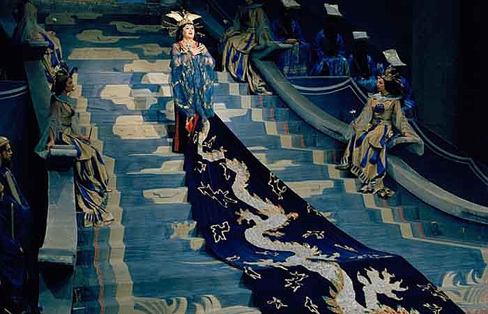 "Birgit Nilsson performing the title role in ""Turandot."""