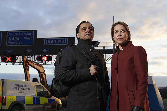 Pictured L-R: SANJEEV BHASKAR as DI Sunny Khan and NICOLA WALKER as DCI Cassi...