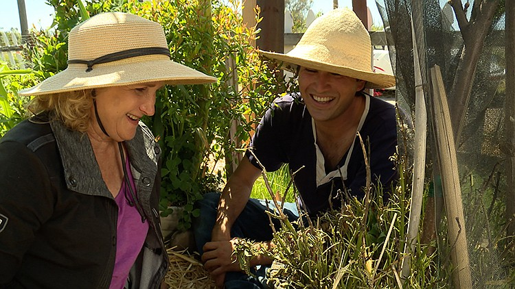 Host Nan Sterman (left) visits a variety of community gardens and celebrate t...