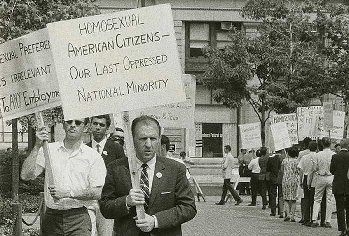 Frank Kameny leads a picket line in front of Independence Hall in Philadelphi...