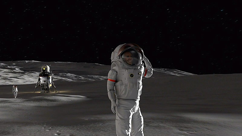 Animation of astronauts on Moon. NOVA's