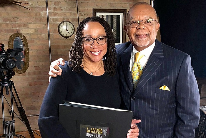 Host Henry Louis Gates, Jr. with actor S. Epatha Merkerson while taping FINDI...