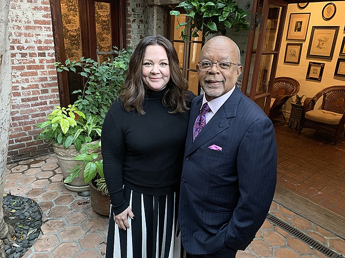 Host Henry Louis Gates, Jr. actress Melissa McCarthy while taping FINDING YOU...