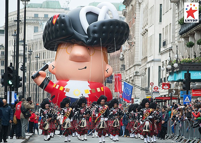 The Mayor balloon at London's New Year's Day Parade.