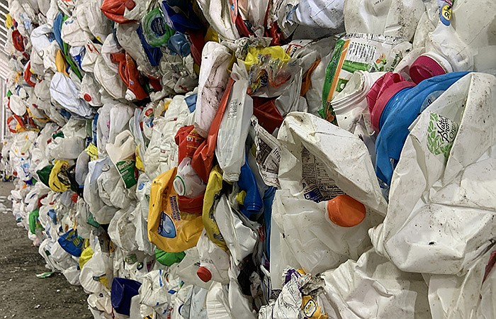 Plastic recycling ready for resale in a facility in Manassas, Va.