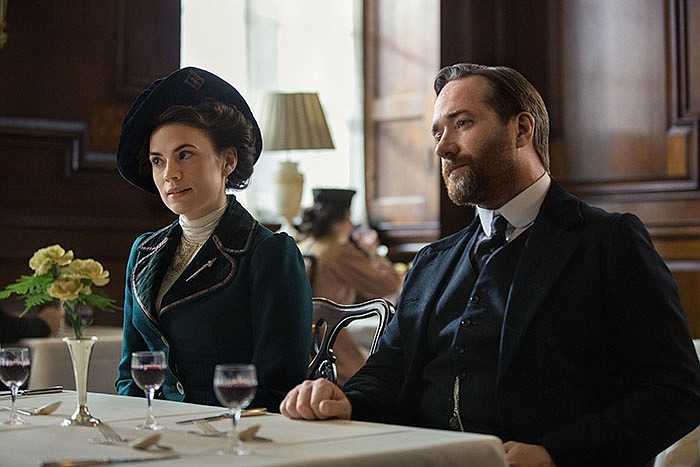 Shown from left to right: Margaret Schlegel (Hayley Atwell) and Henry Wilcox ...