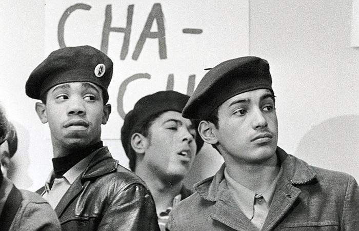 Young Lords members protest at the 18th Avenue Police Station in Chicago. (un...
