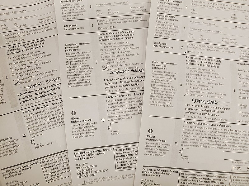 Voter registration forms marked with Common Sense under political party prefe...