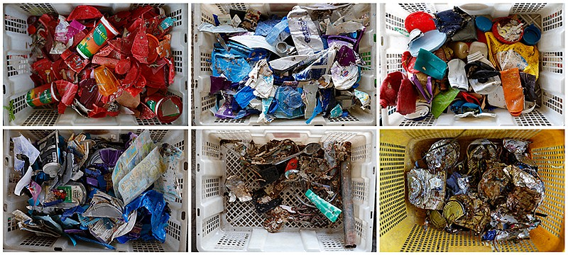 A combination picture shows plastics sorted inside baskets at a collecting si...