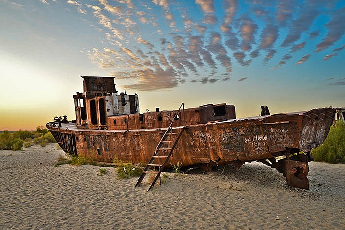 Aral Sea ship. This was one of the largest lakes but dried out when the two r...
