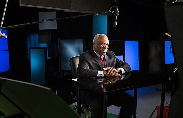 Justice Clarence Thomas on set for