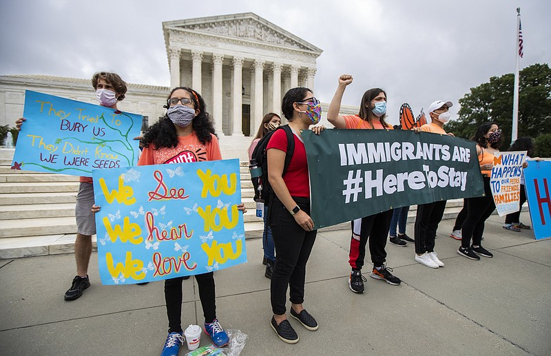 Deferred Action for Childhood Arrivals (DACA) students celebrate in front of ...
