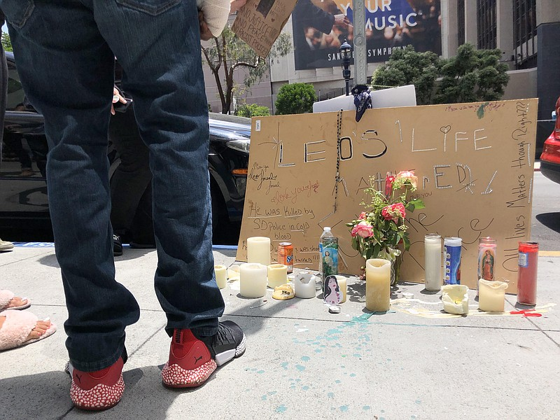Protesters gathered on Sunday afternoon in the area of Sixth Avenue and A Str...