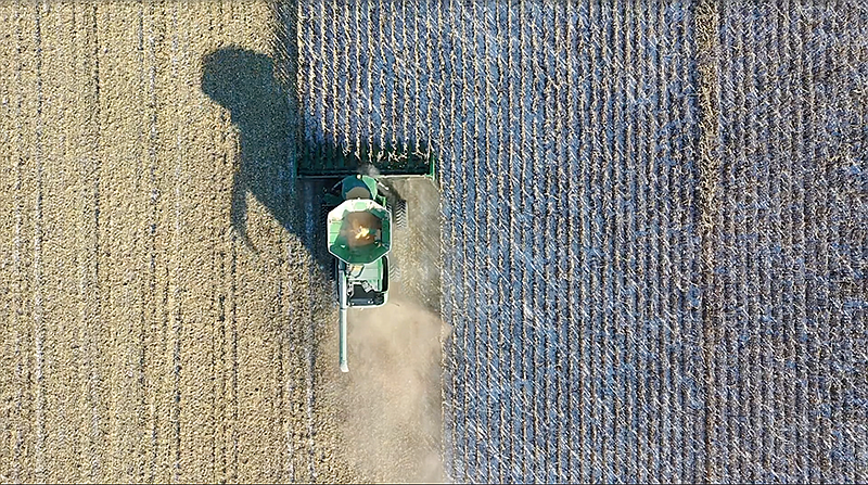 Aerial drone footage of food production.