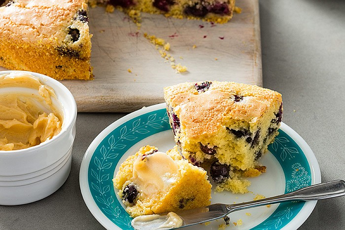 Test cook Ashley Moore shows Julia how to make foolproof Blueberry Cornbread ...