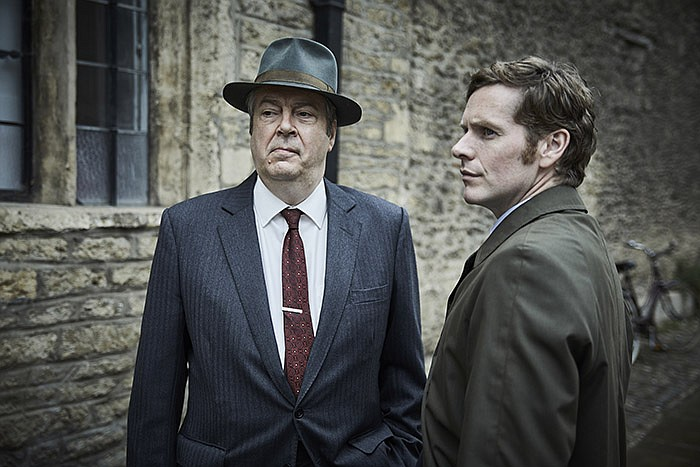 Shown from left to right: Roger Allam as Fred Thursday and Shaun Evans as End...