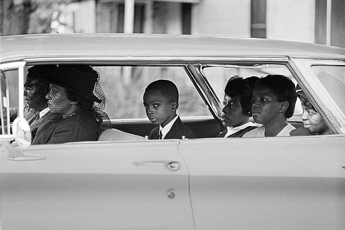 The Chaney family as they depart for the burial of James Chaney, Meridian, Mi...