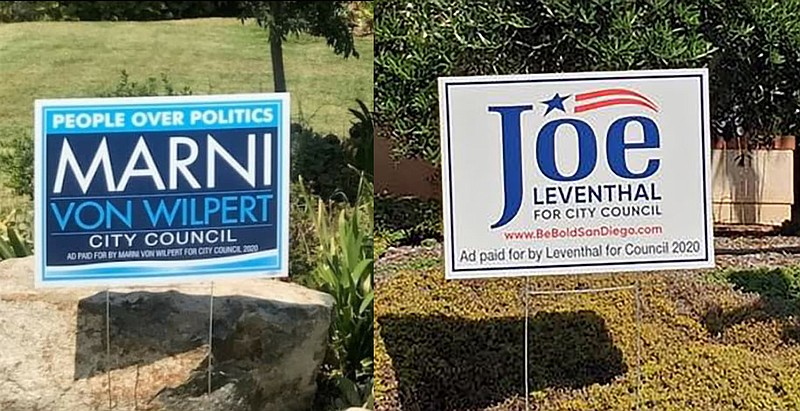 Yard signs for City Council candidates Marni Von Wilpert and Joe Leventhal ap...