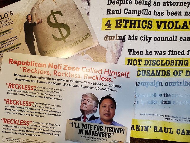 Campaign mailers attacking San Diego City Council District 7 candidates Noli ...