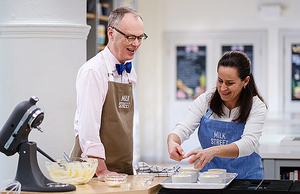 A behind-the-scenes photo of Host Christopher Kimball and Milk Street Cook Er...