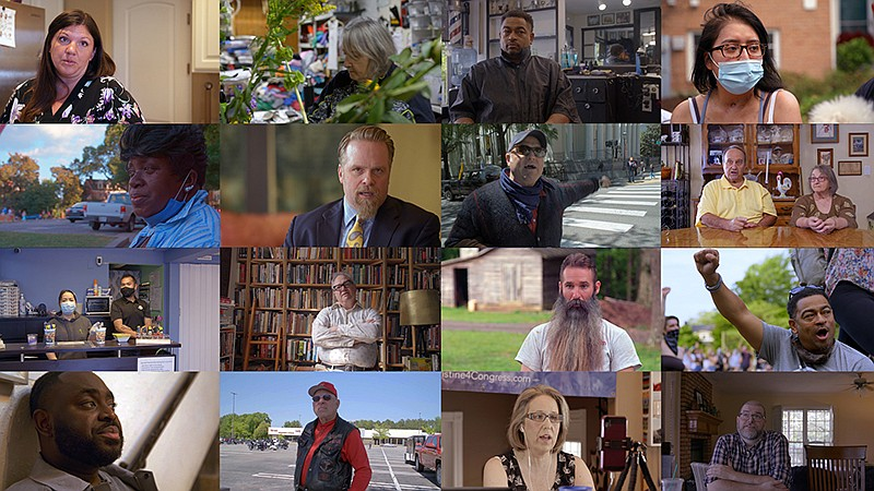 Photo montage of people. A FRONTLINE election special: the lives, fears and h...