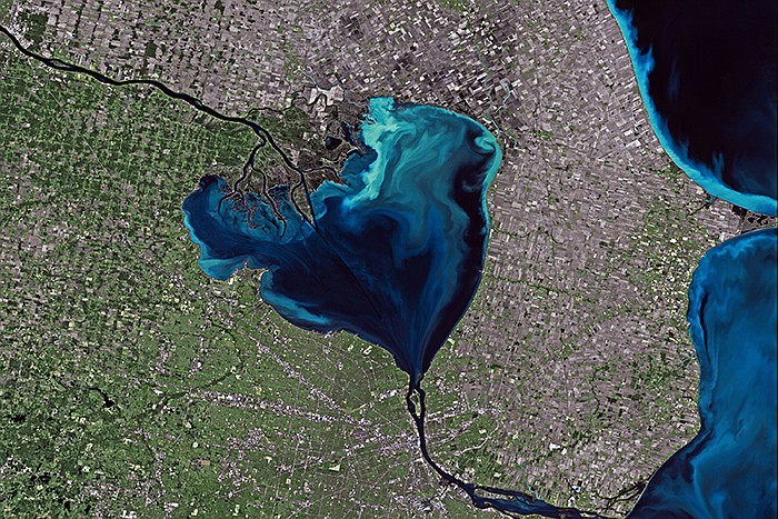 Lake St. Claire on the U.S./Canada border appears heart-shaped from space.