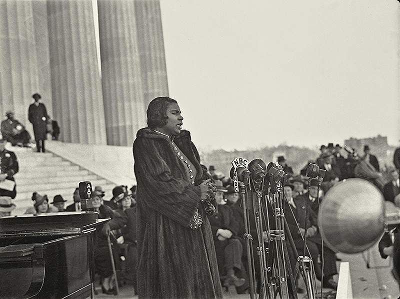 Marian Anderson singing at the Lincoln Memorial in Washington, D.C. on Easter...
