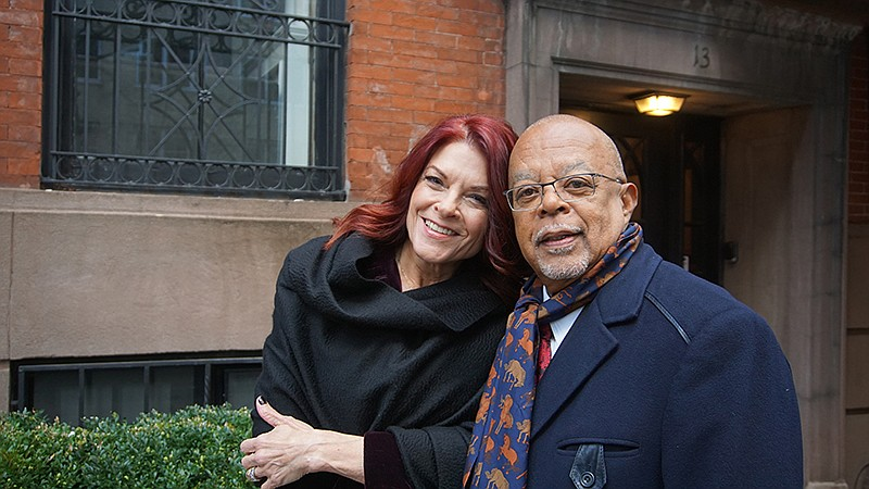 Roseanne Cash and Henry Louis Gates, Jr. while taping FINDING YOUR ROOTS.