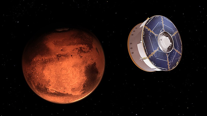 Illustration showing Perseverance rover approaches Mars.