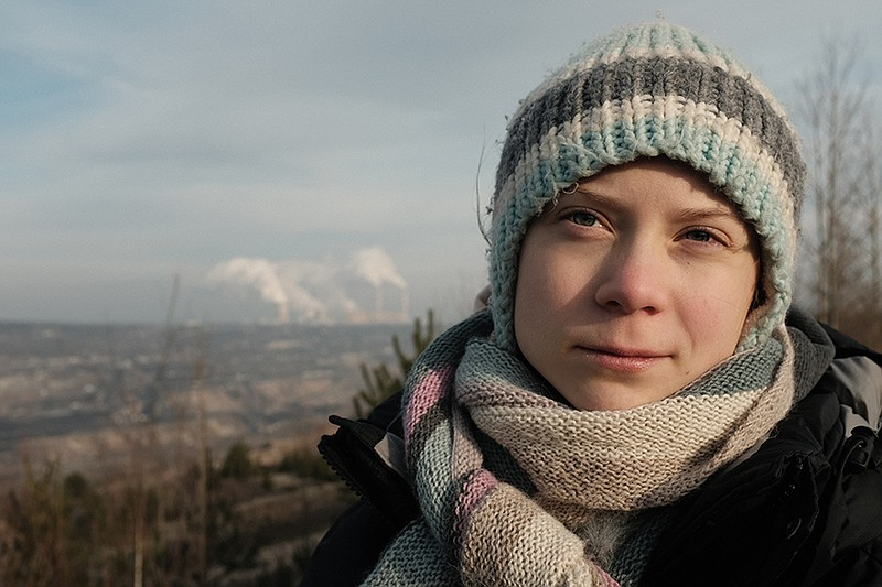 Greta Thunberg beside the Bełchatów coal power station in Poland. The largest...