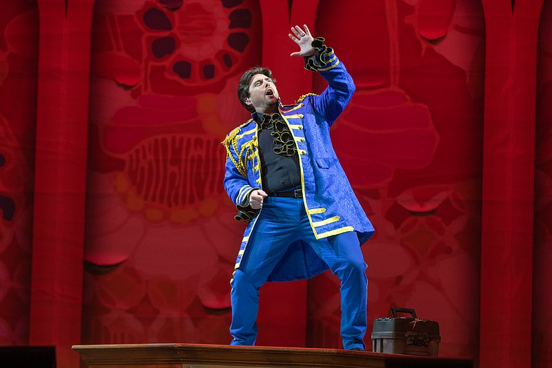 Baritone David Pershall sings the role of Figaro in San Diego Opera's drive-i...