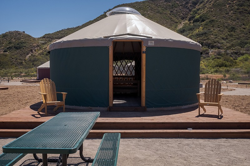 One of the ten yurts available for rental at the Tijuana River Valley Regiona...