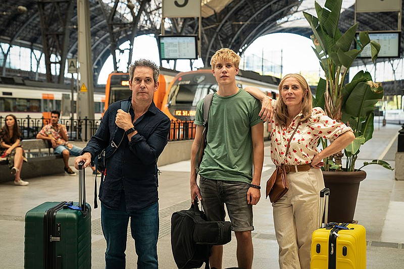 Tom Hollander as Douglas, Tom Taylor as Albie and Saskia Reeves as Connie in ...