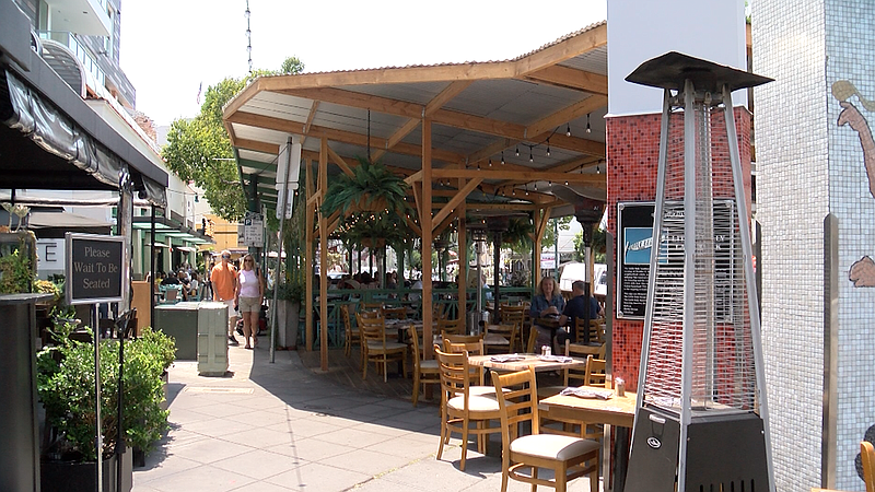 Parklet outside of Nonna in Little Italy neighborhood of San Diego, CA on Jul...