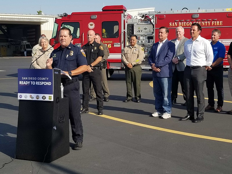 CAL FIRE Chief Tom Mecham addresses the media during a press conference about...