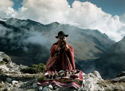 """Photo of a Shaman from the IMAX film """"Amazon"""" showing at the Reuben H. Fleet Science Center."""