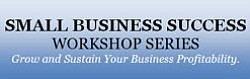 "Graphic logo for the USD Small Business Success Workshop Series ""Grow and Sustain Your Business Profitability."""