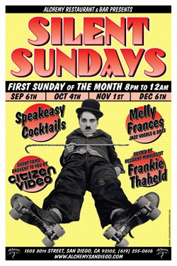 Promotional graphic for Silent Sundays, the first Sunday of the month from 8-12 p.m., at Alchemy.